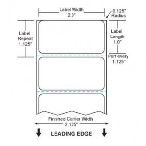 """2"""" x 1""""  Thermal Transfer Paper Labels, Perforated, 1"""" Core, 4"""" Outside Diameter, 1375 Labels/Roll, 12 Rolls/Box"""