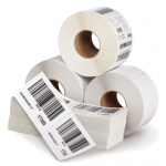 "3"" x 1"" Thermal Transfer 2 Mil. White Gloss Polyester Labels, Perforated, 8"" Outside Diameter, 5000 Labels/Roll, 8 Rolls/Box"