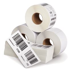"""1.5"""" x 0.75"""" Thermal Transfer 2 Mil. White Gloss Polyester Labels, Perforated, 8"""" Outside Diameter, 7500 Labels/Roll, 8 Rolls/Box"""